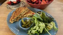 French Onion Monte Cristo with Spring Greens Salad