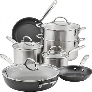 Rachael Ray Professional Stainless Steel/Hard Anodized Nonstick 11-Pc. Cookware Set