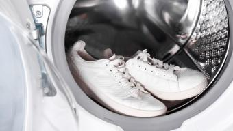 White Sneakers In Washing Machine