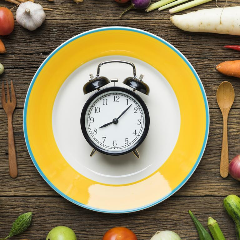 clock on plate surrounded by vegetables