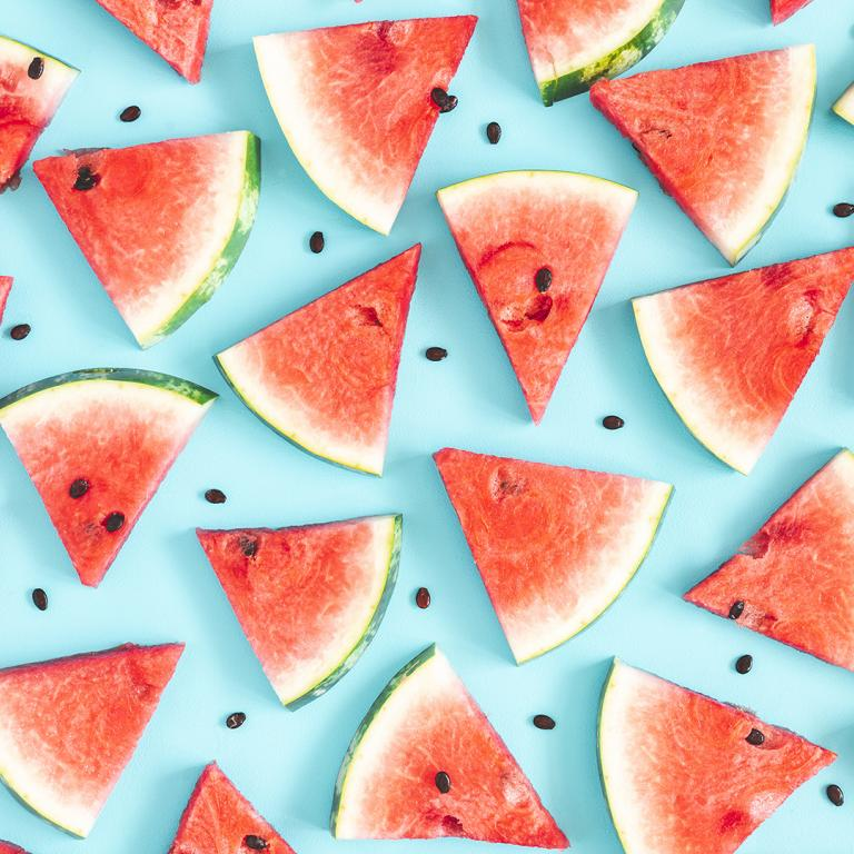 watermelon slices on blue background