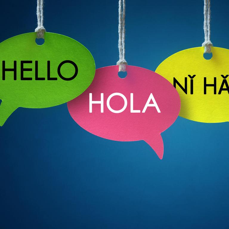 "speech bubbles saying ""hello"" in different languages"