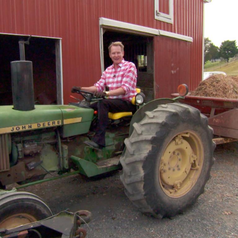 Carson Kressley on tractor