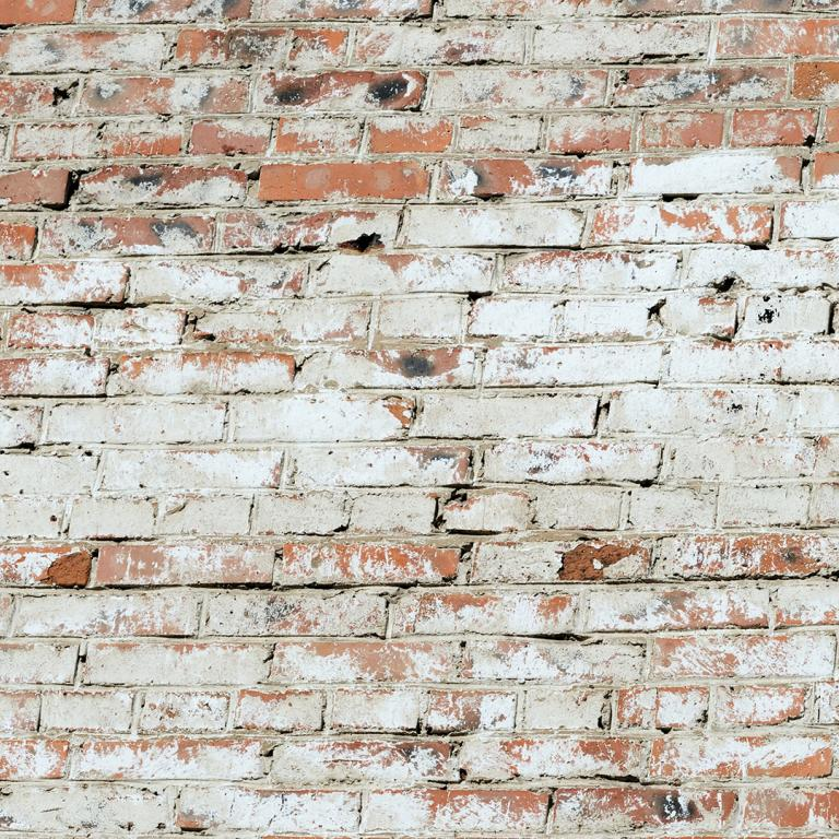 Faux Brick Wall Painted White