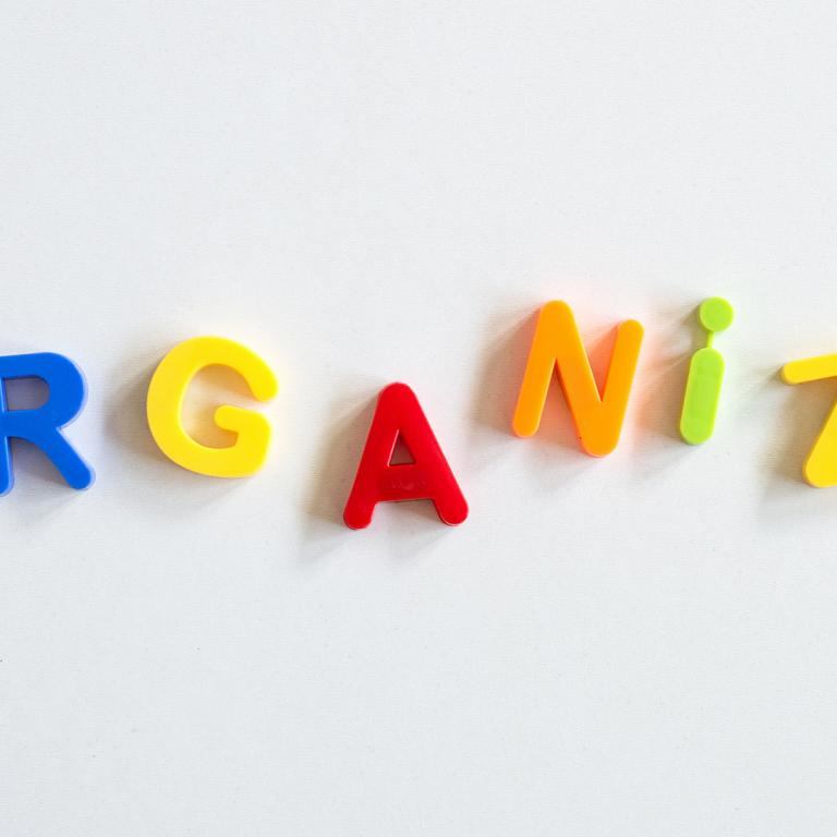 alphabet magnets spelling out the word organize