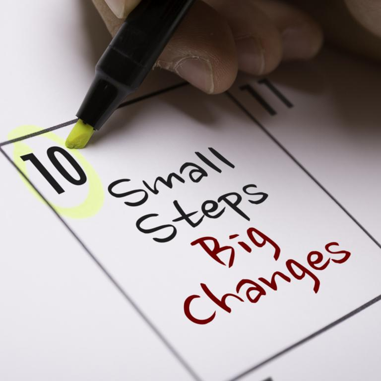 "calendar box reading ""small steps big changes"""