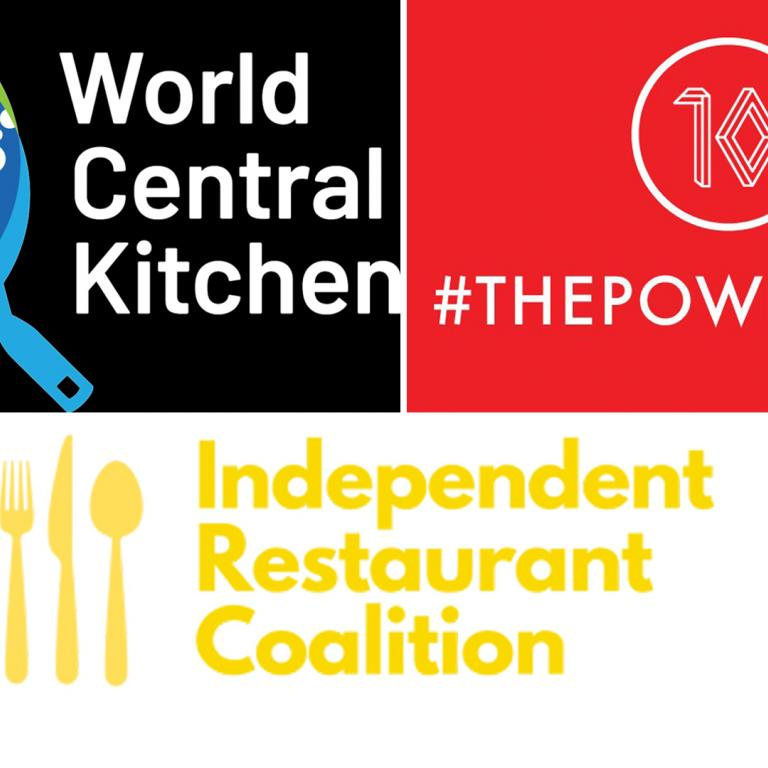 World Central Kitchen, Power of 10 Initiative, Independent Restaurant Coalition logos
