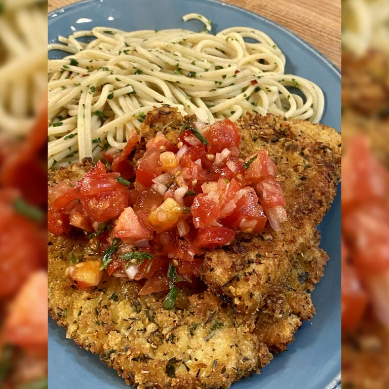 Swordfish Cutlets with Herbes de Provence, Raw Tomato & Tarragon Sauce + Garlic Oil & Anchovy Spaghetti