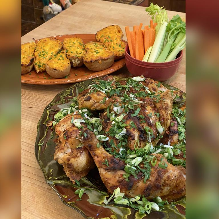 slashed chicken with twice baked butternut squash