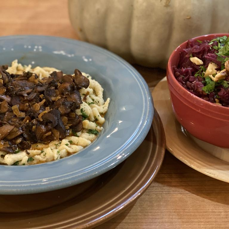 Spiced Red Cabbage + Spaetzle with Mushroom Sauce