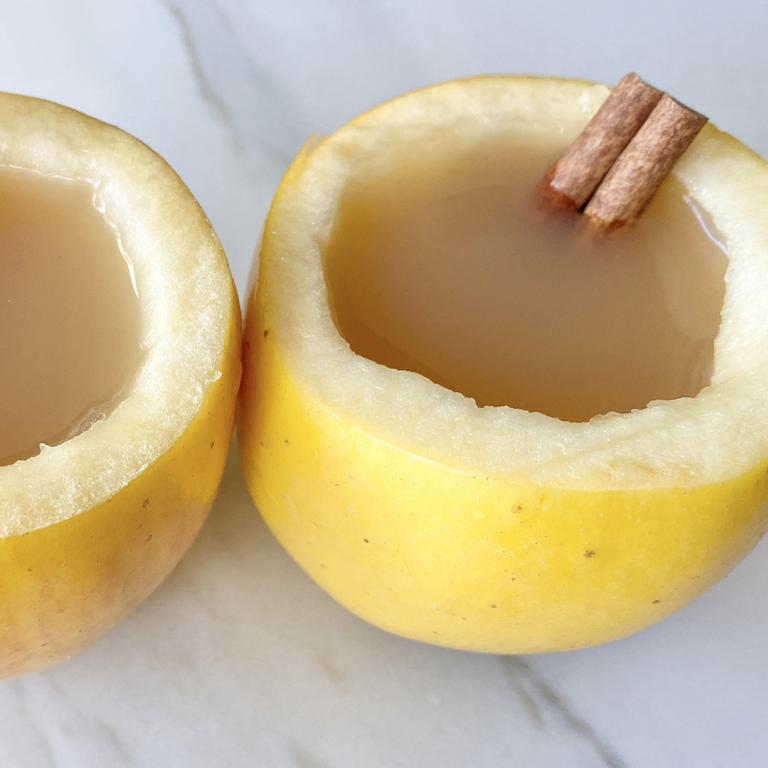Edible Apple Cups with Cider and Cinnamon Sticks
