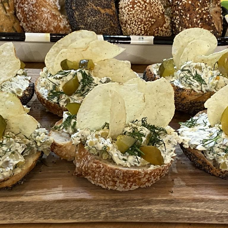 Dill Pickle Cream Cheese Bagels