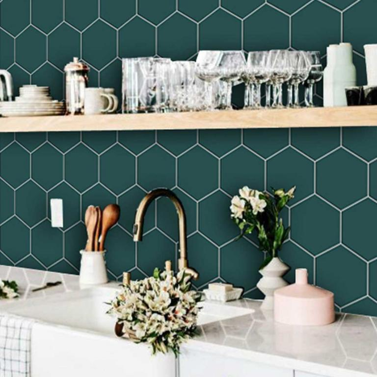 Kitchen and Bathroom Splashback - Removable Vinyl Wallpaper - Hexa Peacock Green - Peel & Stick