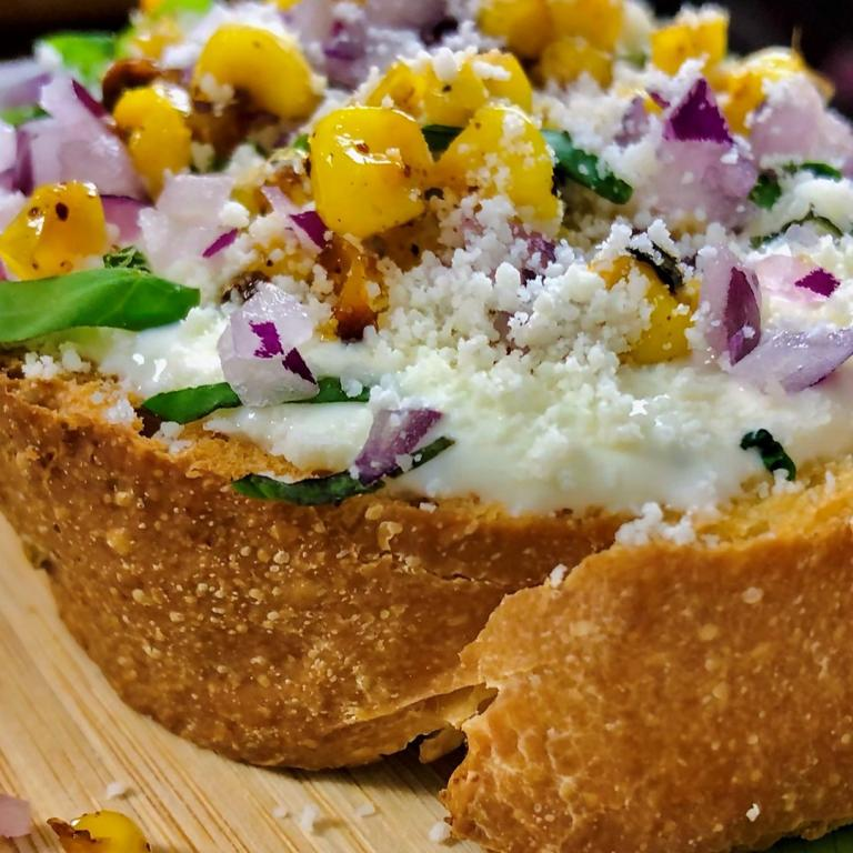 Street Corn Toast with Lime Aioli & Cotija