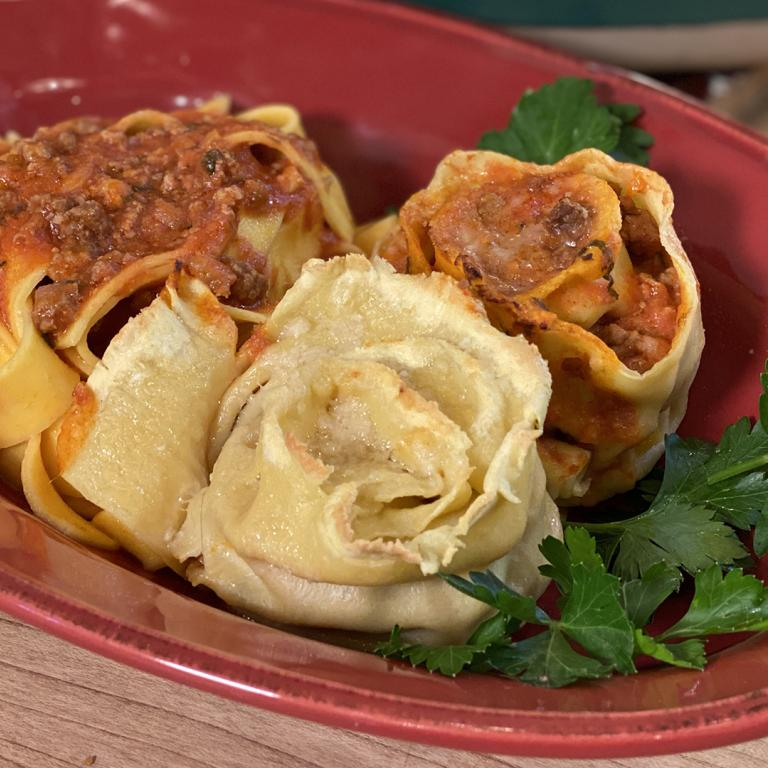 Pappardelle Roses Stuffed With Meat Sauce