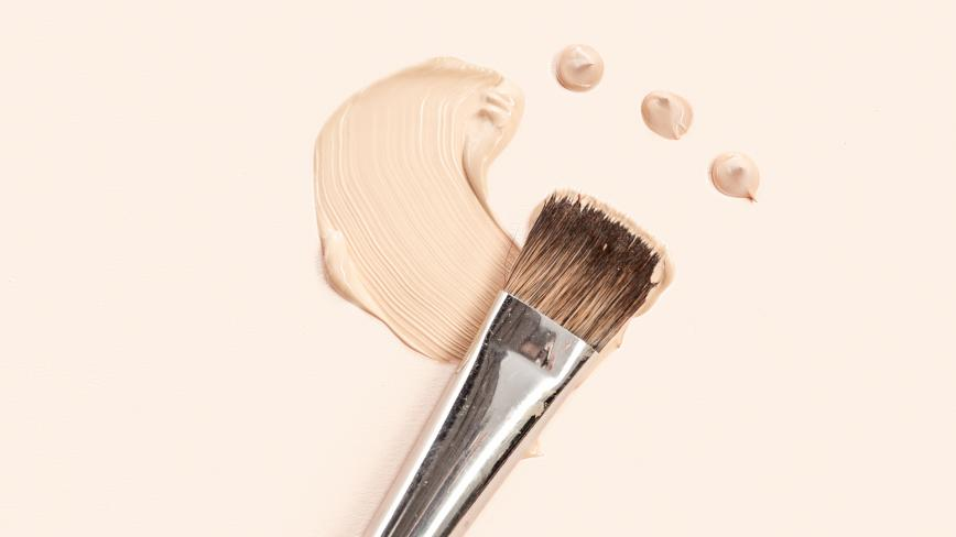 makeup brush and foundation