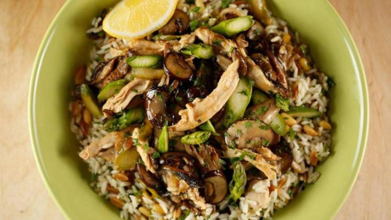 Mushroom, Asparagus and Chicken Sauté with Rice Pilaf