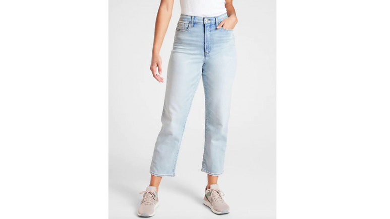 athleta light wash jeans