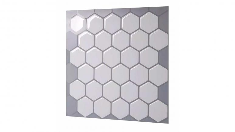 Hexa Mono White 10 in. W x 10 in. H Peel and Stick Self-Adhesive Decorative Mosaic Wall Tile Backsplash