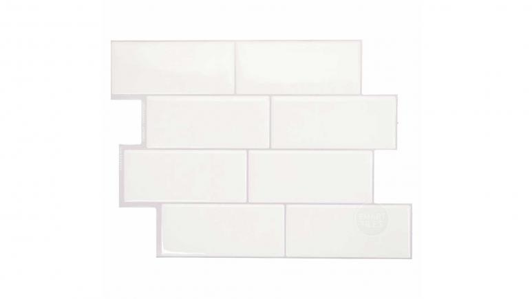 Metro Campagnola 11.5 in. x 8.38 in. White Peel and Stick Decorative Kitchen and Bathroom Wall Tile Backsplash (4-Pack)