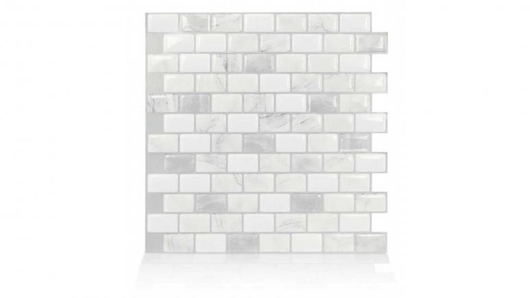 Ravenna Roma 9.80 in W x 9.74 in H Gray Peel and Stick Self-Adhesive Mosaic Wall Tile Backsplash