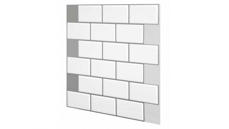 Subway Mono White 12 in. W x 12 in. H Peel and Stick Decorative Mosaic Wall Tile Backsplash (10-Tiles)